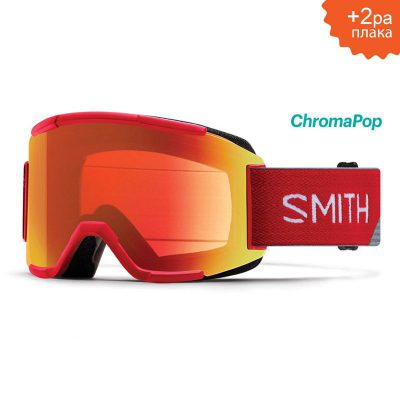 МАСКА ЗА СКИ/СНОУБОРД SMITH SQUAD FIRE SPLIT ChromaPop RED MIRROR